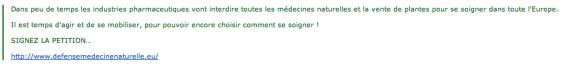 """defensemedecinenaturelle"" : la pétition bidon"