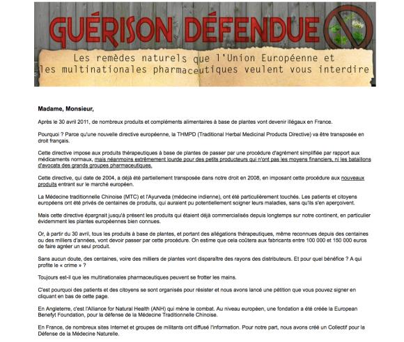 Site de la fausse pétition sur les médecines naturelles