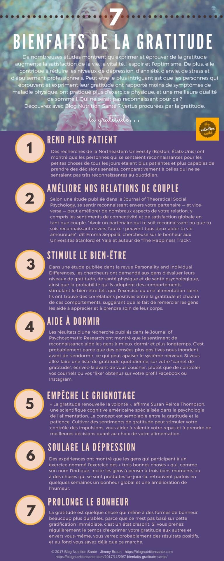 7 bienfaits de la gratitude (infographie)