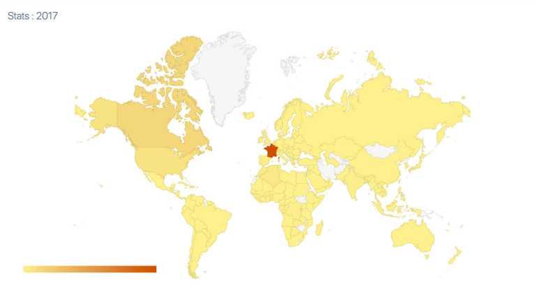 Top 20 des destinations géographiques