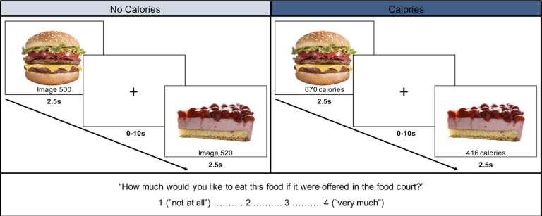 Effets de l'affichage des calories