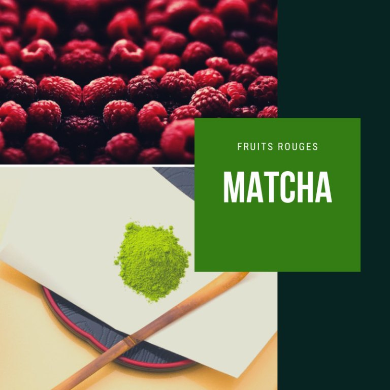 Matcha et fruits rouges